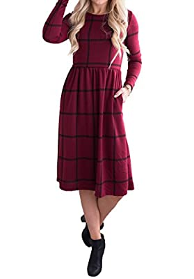 Imily Bela Womens A Line Checked Midi Jumper Empire Waist Crewneck Plaid Shirt Dress