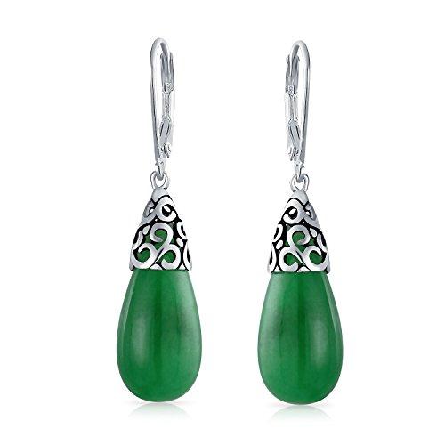 Bali Style Gemstone Dyed Green Jade Elongated Teardrop Filigree Leverback Dangle Earrings For Women 925 Sterling Silver