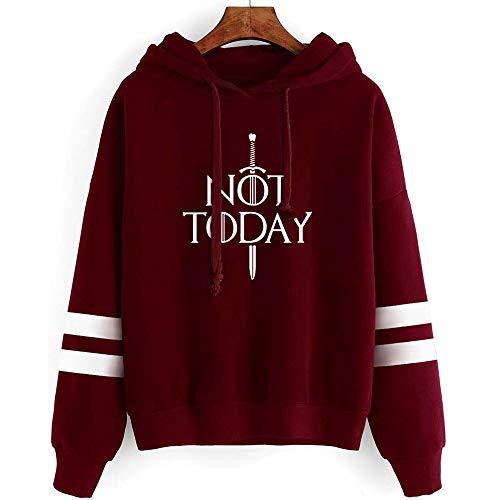 GOT Not Today Arya Stark Hoodie Sweatshirt The Game TV Series Thrones Merchandise Hoodies Sweater Funny Tops Pullover Gift (Not Today Arya Wine Red, XXL)