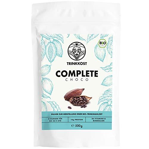 Complete Choco I 5 Bio Mahlzeiten als Getränk I Fettarme und sättigende Trinknahrung I Mit 425 kcal pro Portion ideal als Mahlzeitenersatz für Frühstück oder Essen für Zwischendurch I 500 g