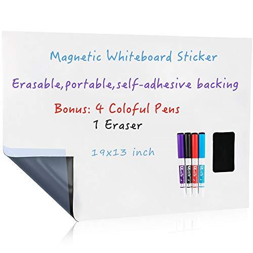 UCMD - Pizarra blanca magnética de borrado en seco para pared, parte trasera autoadhesiva para niños, caballete de dibujo o oficina 19x13 inches