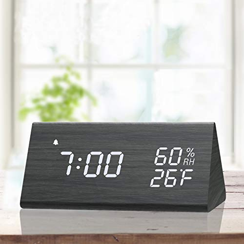 Digital Alarm Clock with Wooden Electronic LED Time Display 3 Alarm Settings Humidity amp Temperature Detect Wood Made Electric Clocks for Bedroom Bedside Black