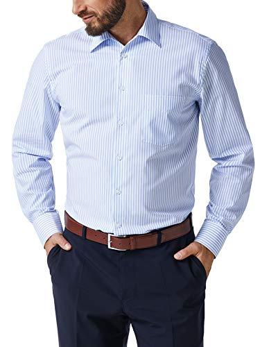Walbusch Herren Hemd Bügelfrei Kragen ohne Knopf gestreift Streifen Azur 38 - Langarm