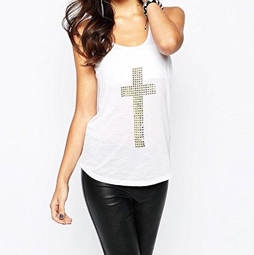 Camiseta de chica con dibujo de cruz en tachuelas mod. MYSTICAL TANK - Blanco, XL (Cocina)