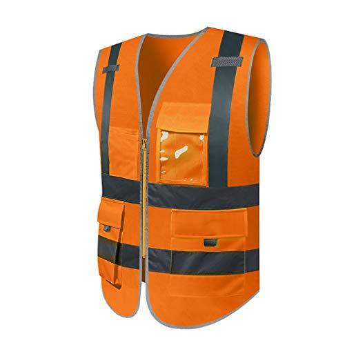 Liuyu veiligheidsvest, reflecterend, oranje, licht en ademend, werkkleding met meerdere zakken, hoge zichtbaarheid