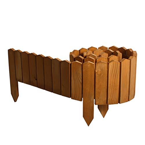 BOGATECO Rollborder Holzlatten | 20cm Hoch & 200cm lang | Holz-Zaun | Staketenzaun Perfekt als Beet-Umrandung oder Weg-Abgrenzung | Helllbraun