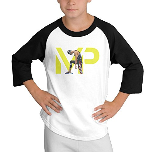 MULTY9 Michael Phelps Child Youth 3/4 Baseball Tshirt X-Large