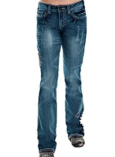 Damesbroeken - Stijlvolle jeans met wijde pijpen Uniek borduurwerk Slim Fit casual broek