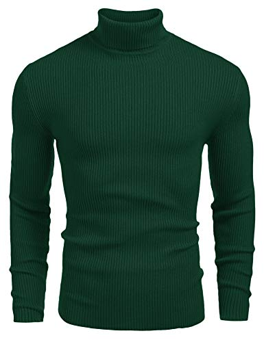 COOFANDY Mens Ribbed Slim Fit Knitted Pullover Turtleneck Sweater Hunter Green