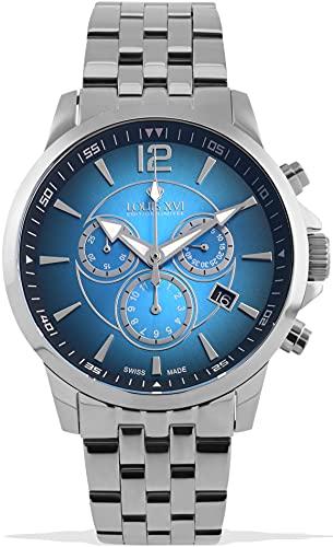 LOUIS XVI Athos 1052 - Reloj de pulsera para hombre con correa de acero, color plateado y azul