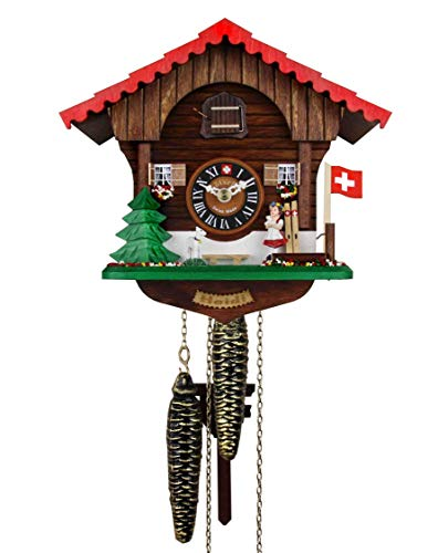 Loetscher Authentic Swiss Handcrafted Cuckoo Clock - Heidi and The Baby Goat Themed Traditional Weight Driven One Day Clock