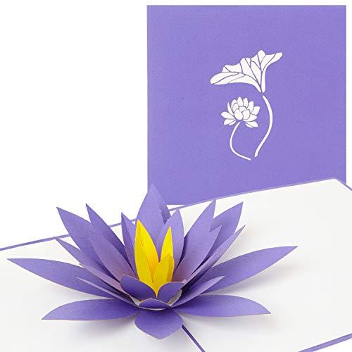 PaperCrush® Pop-Up Karte Blumen Lotus - 3D Blumenkarte für beste Freundin, Mutter oder Oma (Geburtstagskarte, Bleib Gesund, Gute Besserung) - Besondere Glückwunschkarte mit Blumenmotiv