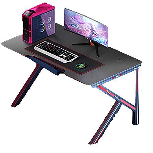 nobrand Computertische Computer-Schreibtisch, Spiele Computer-Schreibtisch, 100 * 60 cm Gaming Table Workstation mit Ausstellungsstand & Boxenständer & Kopfhörerhalter, Weiss (Color : Black)