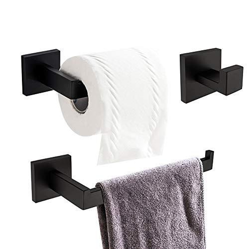 TURS 3-teiliges Badezimmer-Zubehör-Set SUS 304 Edelstahl Toilettenpapierhalter Handtuch Gestell Robe Haken Handtuchhalter Roll-Papier-Halter Wall Mount, Schwarz, Q7010BK