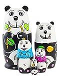 Azhna 5 piezas de 15 cm de la familia de panda, matrioska, decoración del hogar, colección de muñeca...