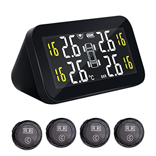 Funien Sensores externos, Sistema de monitoreo de presión de neumáticos inalámbrico Solar TPMS para automóvil Sistema de monitoreo de Pantalla LCD Digital HD Sistema de Alarma automática con 4