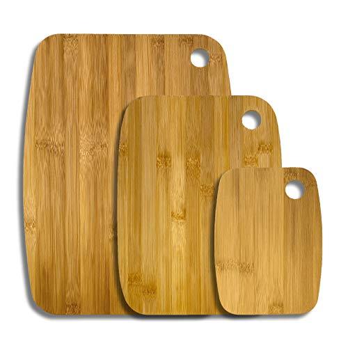 Care4You 3 Stück Schneidebrett Bambus mit Ring Set hochwertig, Hackbrett Brotbrett Holzbrett Küchenbrett Frühstücksbrett Holzschneidebrett, Verschiedene Größen, beidseitig nutzbar