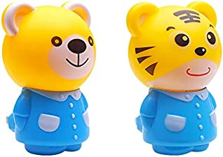 1 Pair - Plug-in LED Night Light for Kids - Light Sensor Controlled Nightlights for Baby Nursing - Cartoon Tiger and Bear Shaped Lamp Take Good Care Children Sleep
