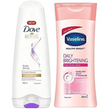 Dove Daily Shine Conditioner, 180ml & Vaseline Healthy White Lightening Body Lotion, 200ml