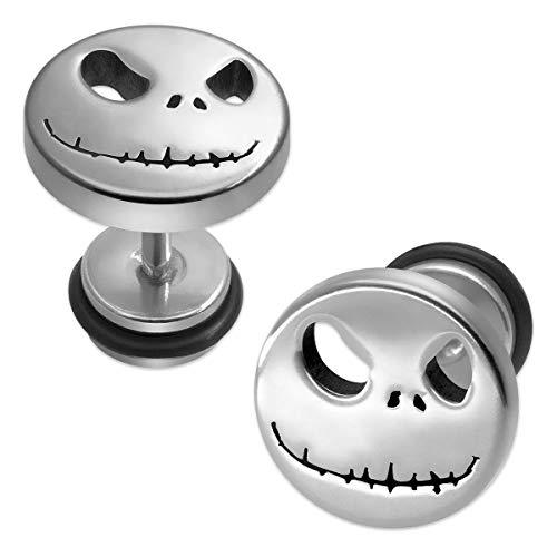 1 par Soul Gatos Fakeplugs Fake Plug tachona los pendientes Pesadilla de Halloween Jack Skellington, color: plata