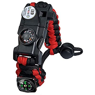 Paracord Survival Bracelet Kit Adjustable with Flint fire Starter + Compass + Thermometer + Whistle + Umbrella Rope + LED Light + Multi-Tool + Card Reader (Black and Red)