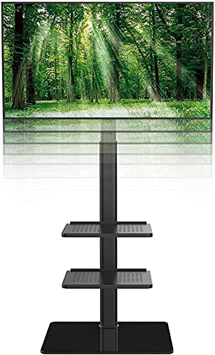Upgraded Universal Floor TV Stand with Swivel Mount for 19 to 42 Inch LCD LED TV 3 Shelves Black