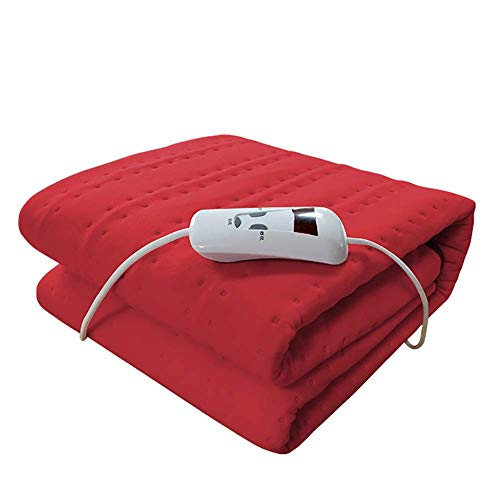 XHCP Electric Blanket Single Velvet Heated Underblanket with Digital Display Controller 4-Speed Thermostat Control Electric Blanket Machine Washable, 150Cmx75cm,Red