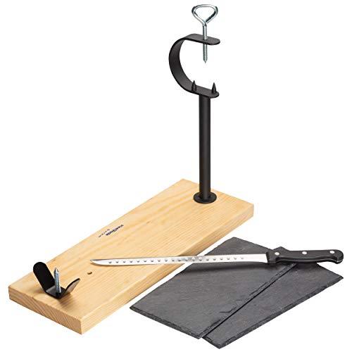Steelblade - Jamonero en Madera Lacada + Cuchillo Jamonero 28 cm + Regalo 2 Platos de...