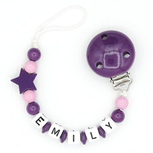 """Schnullerkette """"Mundspiel"""" mit Namen - Mädchen - dunkelpink - Geschenk zur Geburt oder Taufe (Emily)"""