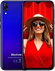 "Blackview A60 Teléfono Móvil 2GB+16GB (128GB SD), Pantalla 6.1"" (19.2:9) Water-Drop Screen Movil Barato, 13MP+2MP+5MP, 4080mAh Batería, Android 10 Smartphone Libre Dual SIM, GPS/WiFi/Hotspot-Azul"