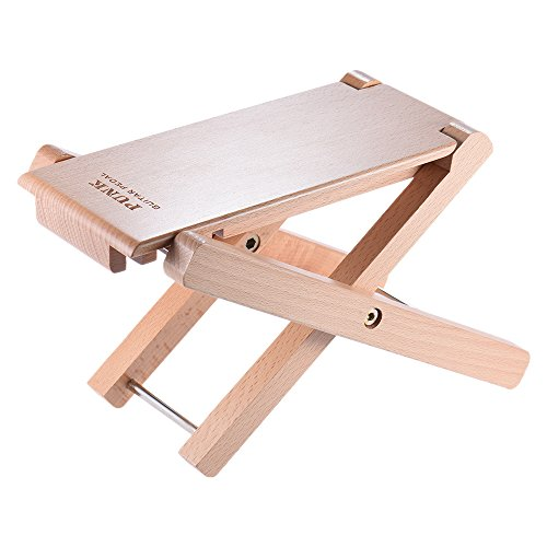 ammoon Faltbare Holz Gitarre Fußstütze Hocker Pedal 4-Fach Einstellbares Höhe Buchenholz Material