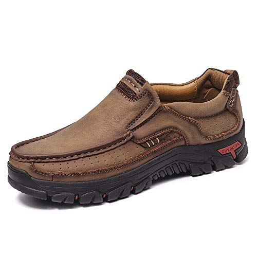 Leder Schuhe Zum Herren Slipper Beiläufig Stilvoll Combo Atmungsaktiv Low-Top Draussen Werkzeug Schuhe Rutschfest Wandern Arbeiten Schuhe Khkai Größe 42