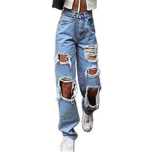 Onsoyours Jeanshosen Damen Mode High Waist Asymmetrische Loch Jeans Casual Baggy Gerade Jeanshose Stretch Denim Pants Bootcut Jeans Freizeithose Streetwear B Blau M