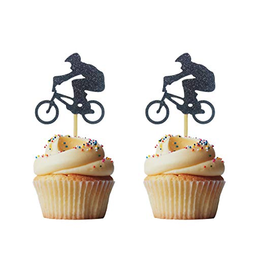 Morndew 24 PCS BMX Bike Rider Cupcake Toppers for Bicycle Stag Theme Party Birthday Party Wedding Party Decorations