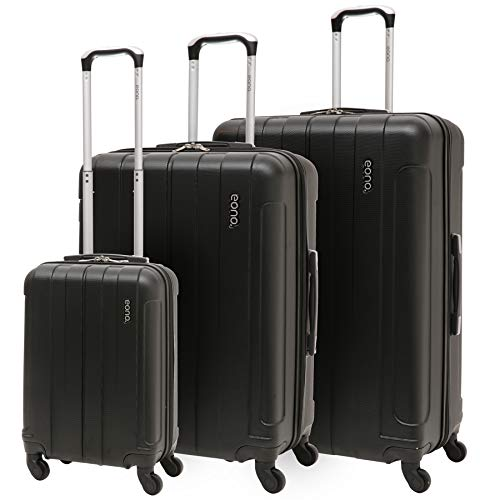 EONO Essentials ABS Hard Shell Travel Trolley Suitcase with 4 Wheels, 21' Hand Cabin Luggage + 25' Medium + 29' Large Hold Luggage, 3 Piece Luggage Set, Black