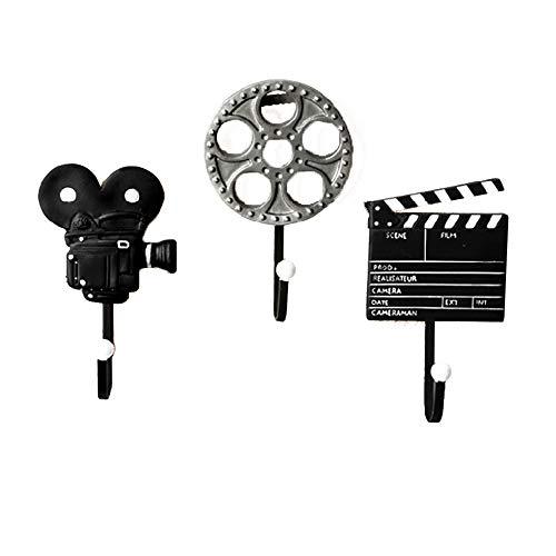 NJZYB 3pcs Creatividad Ganchos de Pared, Películas Vintage película Clapper Board Carrete Decorativo y Cine cámara Resina Ganchos de Pared, para Colgar Abrigos, Sombreros, Claves