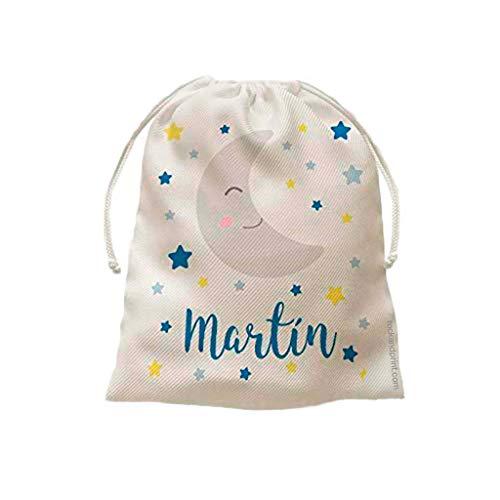 Luna y estrellas. Bolsita para bebé. 20x25 cm. Elige el color del diseño. Bolsa para merienda guardería o muda para recien nacido. Cole. Regalo original