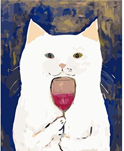 Jkykpp schilderij op nummers, doe-het-zelf kat drinken rode wijn dier bruiloft decoratie foto cadeau