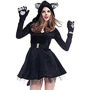 YyZCL Women's Sexy Black Cat Role Playing Halloween Costume Ladies Cosplay Fancy Dress (Size  L)