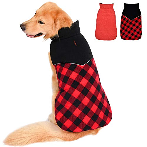 Fragralley Dog Winter Coat Reversible - Pet Plaid Jacket Reflective Warm Vest Clothes - Dog Christmas Sweater Windproof Waterproof for Small Medium Large Dogs