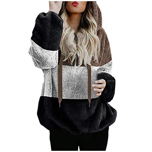 iHENGH Damen Herbst Winter Bequem Lässig Mode Jacke Frauen Kapuzen Sweatshirt Mantel Winter Warme...