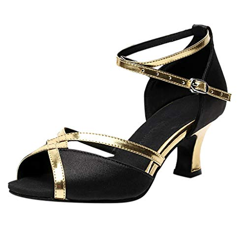 ZIYOU Tanzschuhe Damen Peep Toe Sandalen Kitten-Heel Ballerinas für Rumba Waltz Prom Ballroom Latin Square Dance Schuhe(Schwarz,36 EU)