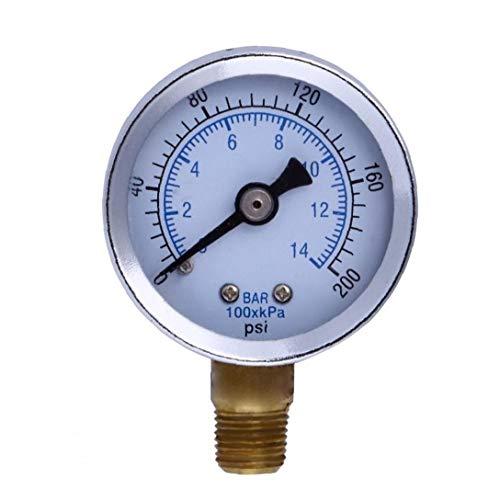 "Hotaden 1/8"" NPT Manometer Kraftstoff-Luftverdichter Meter Hydraulikdrucktester 200 PSI Manometer Doppelskala Druckmesser"