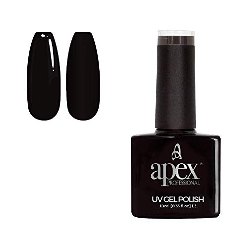 Apex Professional Gel Nail Polish, Jet Black [SC-002], Essentials Range, UV CFL/LED Soak-Off Gel Polish, 10ml