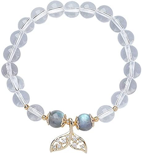 KEEBON Feng Shui Pulsera Natural Blanco Cristal Gris Moonstone Diamond-Studded Pescado Pescado Brazalete Buena Suerte Peach Blossom Amuleto Rico Pulsera para Mujeres, 13~14 cm (Talla : 16~17cm)