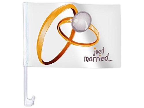 20 STK. Alsino Autoflagge AFL-10A Autofahne für die Hochzeit 'Just Married Ringe' Auto Flagge Fahne