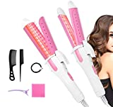 2-in-1 Hair Straightener and Curling Iron, Professional Salon Hair Dressing Portable Hair Straightener and Curler Ceramic Tourmaline Coating, Curling Flat Iron with Travel Cap