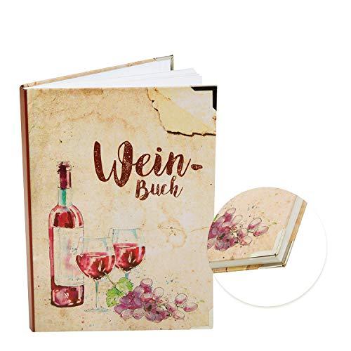 Logbuch-Verlag Weinprobe Notizbuch WEINBUCH vintage braun rot zum Ausfüllen A5 - Hardcover Notizheft Wein Protokoll - Geschenk für Weinkenner Weinliebhaber