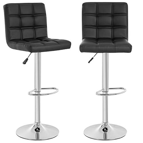 BestOffice Set of 2 Barstools Modern Bar Stool PU Leather Height Adjustable Counter Height Swivel Bar Stool Bar Chairs Hydraulic Dining Room Chairs Home Kitchen Stools