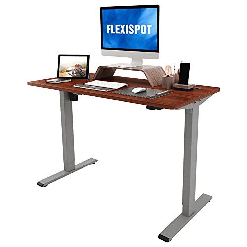Flexispot Standing Desk 48 x 24 Inches Height Adjustable Desk Electric Sit Stand Desk Home Office Desks with Splice Board (Gray Frame + Mahogany Top)